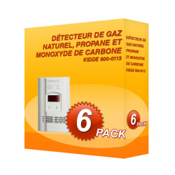 Pack de 6 détecteurs de gaz naturel, propane et monoxyde de carbone Kidde 900-0113