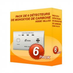 Pacote de 6 detectores de Monóxido de Carbono Kidde 10LLCO