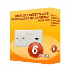 Pacote de 6 detectores de Monóxido de Carbono Kidde 7H