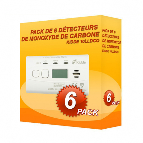 Pack de 6 détecteurs de Monoxyde de Carbone Kidde 10LLDCO